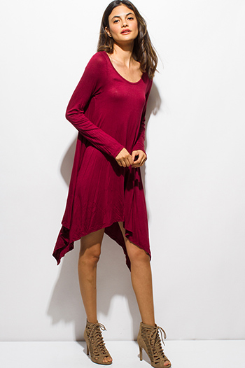 $15 - Cute cheap black ruffle boho dress - wine burgundy red long sleeve asymmetrical hem boho midi dress