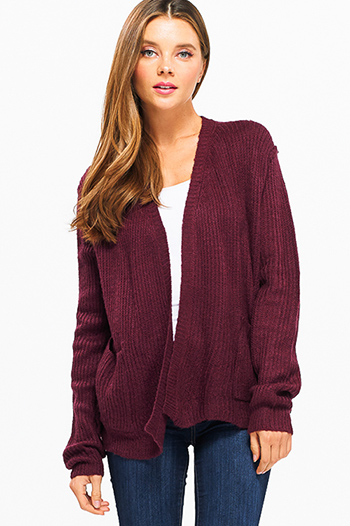$15 - Cute cheap asymmetrical sweater - Wine burgundy red long sleeve exposed stitch pocketed open front sweater cardigan
