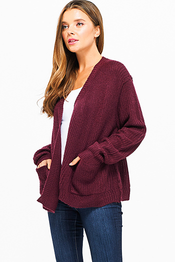 $15 - Cute cheap asymmetrical fringe sweater - Wine burgundy red long sleeve exposed stitch pocketed open front sweater cardigan