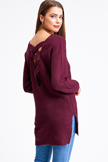 $25 - Cute cheap taupe beige long sleeve oversized hooded boho textured slub sweater top - Wine burgundy red long sleeve v neck caged criss cross back tunic sweater top