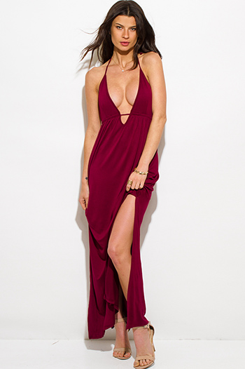 $20 - Cute cheap high neck fitted romper - wine burgundy red low v neck halter backless double high slit evening maxi dress