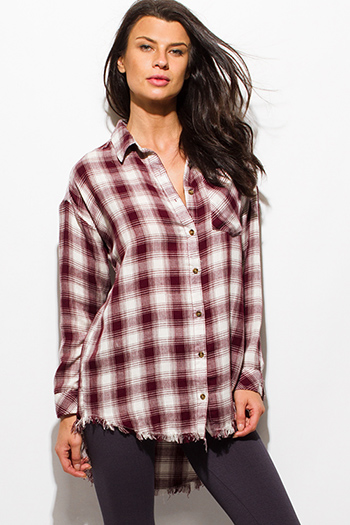 $20 - Cute cheap one shoulder boho top - wine burgundy red plaid print flannel long sleeve frayed hem button up blouse tunic top