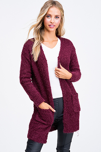 $25 - Cute cheap charcoal gray long sleeve ruffle hem boho sweater top - Wine burgundy red popcorn knit long sleeve open front pocketed boho fuzzy sweater cardigan