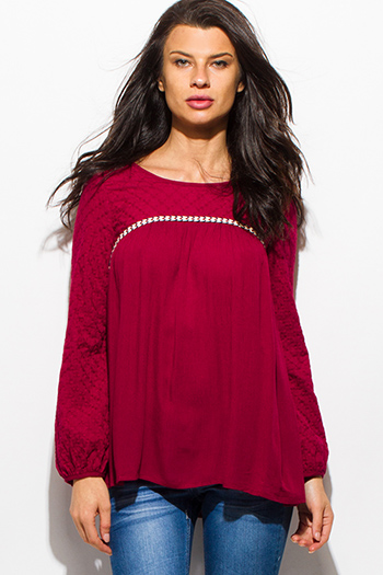$15 - Cute cheap sheer boho sexy party blouse - wine burgundy red quilted long blouson sleeve boho peasant blouse top