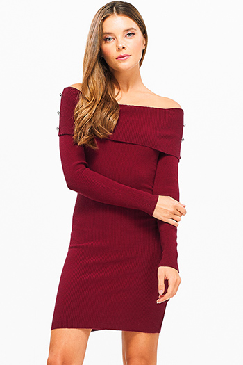 $25 - Cute cheap black rhinestone bejeweled long sleeve bodycon fitted sweater knit mini dress - Wine burgundy red ribbed knit cowl neck button detail off shoulder sweater mini dress