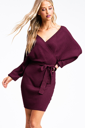 $30 - Cute cheap boho evening dress - Wine burgundy red ribbed knit dolman sleeve surplice faux wrap belted sweater mini dress