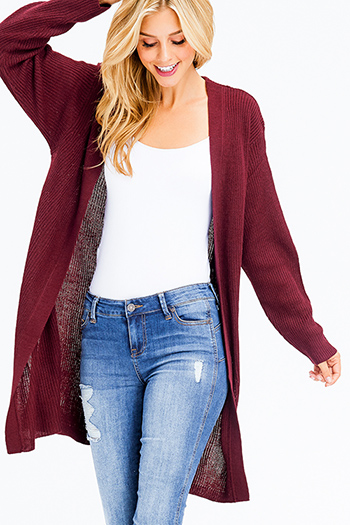 $25 - Cute cheap black pink ethnic print fringe trim waterfall draped open front boho sweater cardigan jacket - wine burgundy red ribbed sweater knit long sleeve open front boho duster cardigan
