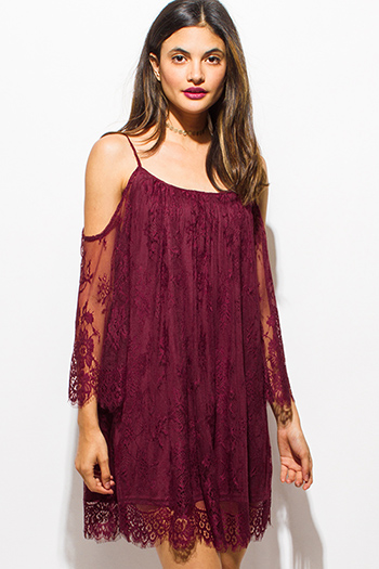 $15 - Cute cheap mesh lace boho pants - wine burgundy red sheer lace cold shoulder scallop hem cocktail sexy party boho shift mini dress