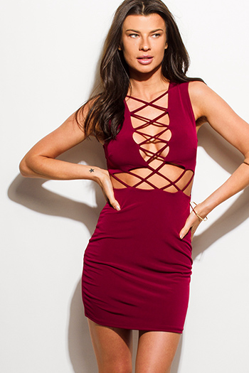 $15 - Cute cheap ruched wrap sexy club dress - wine burgundy red sleeveless caged cut out bodycon fitted pencil club mini dress