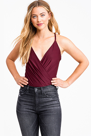 $18 - Cute cheap black satin v neck faux wrap ruched bodycon cocktail party sexy club mini dress - Wine burgundy red surplice draped v neck cross back club bodysuit top
