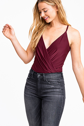 $20 - Cute cheap ruched sexy club mini dress - Wine burgundy red surplice draped v neck cross back club bodysuit top