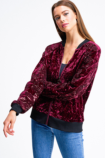 $20 - Cute cheap a bomber jacket in a faux sherpa fabrication featuring a high neck - Wine burgundy red velvet sequined long sleeve zip up boho bomber jacket