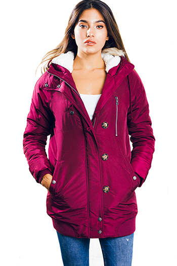 $25 - Cute cheap black quilted faux fur lined asymmetrical zip up puffer bomber jacket - wine burgundy red zip up pocketed button trim hooded puffer coat jacket