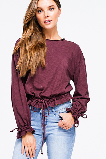 $15 - Cute cheap taupe brown laser cut distressed long sleeve elbow cut out hooded sweatshirt crop top - Wine plum burgundy cotton ruched long sleeve ruched tie waist boho crop top