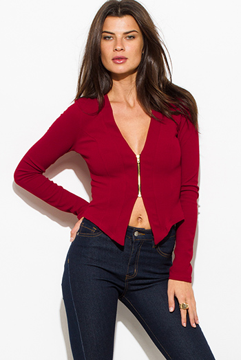 $15 - Cute cheap ivory white textured fabric deep v neck tiered ruffle high low hem blouse jacket top - wine red burgundy textured long sleeve asymmetrical hem zip up fitted jacket top
