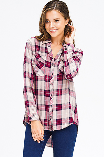 $18 - Cute cheap white quarter sleeve blouse - wine red tan plaid pocket front button long sleeve up boho blouse top