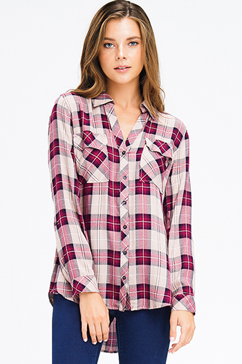 $20 - Cute cheap ruffle blouse - wine red tan plaid pocket front button long sleeve up boho blouse top