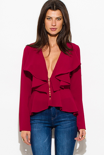 $20 - Cute cheap ruffle sheer top - wine red textured fabric deep v neck tiered ruffle high low hem blouse jacket top