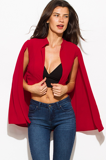 $10 - Cute cheap wine red textured fabric deep v neck tiered ruffle high low hem blouse jacket top - wine red textured fabric open front cape cropped blazer top
