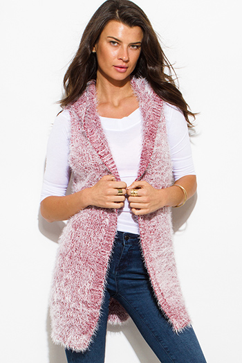 $12 - Cute cheap black sexy club vest - wine red textured open front hooded fuzzy sweater knit cardigan vest