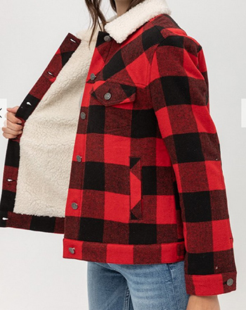 $25.50 - Cute cheap non stretch shearling collar denim jacket 100cotton - woven plaid red jacket