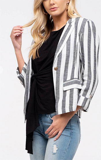 $25 - Cute cheap fall - woven striped blazer