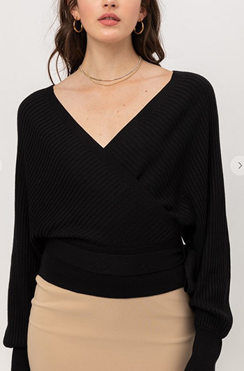 $27.00 - Cute cheap chiffon top - wrap style long sleeve sweater with tie front top