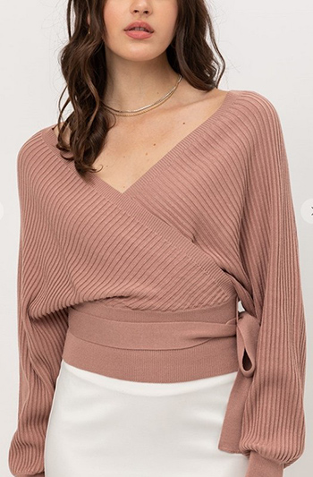 $27.00 - Cute cheap mauve pink long tie sleeve banded waisted keyhole back boho crop blouse top - wrap style long sleeve sweater with tie front top
