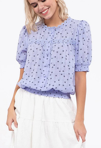 $14.50 - Cute cheap wrinkle effect floral print woven top
