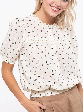 $14.50 - Cute cheap print top - wrinkle effect floral print woven top