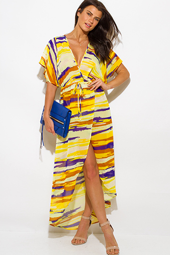 $25 - Cute cheap wrap sun dress - yellow abstract print semi sheer chiffon kimono sleeve high slit boho maxi sun dress