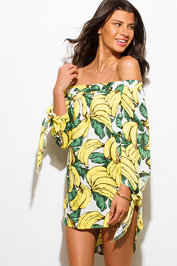 $15 - Cute cheap light yellow halter v neck racer back boho beach cover up top - yellow banana print strapless long tie sleeve tunic boho beach cover up