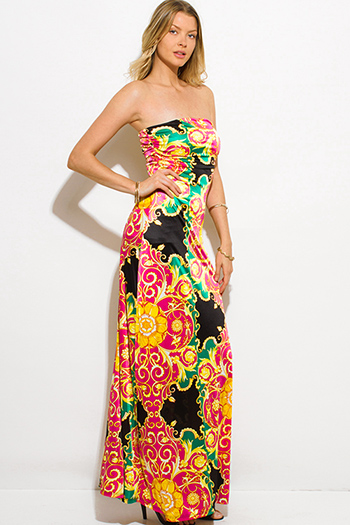 $15 - Cute cheap print crochet dress - yellow black multicolor abstract regal print strapless evening sexy party maxi dress