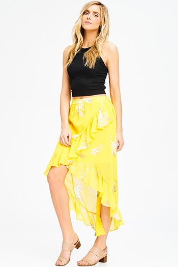 $10 - Cute cheap ruffle boho tunic - yellow floral print chiffon tiered faux wrap ruffle high low boho evening maxi skirt