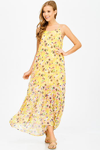 $20 - Cute cheap open back evening jumpsuit - yellow floral print tiered halter cut out racer back boho evening maxi sun dress