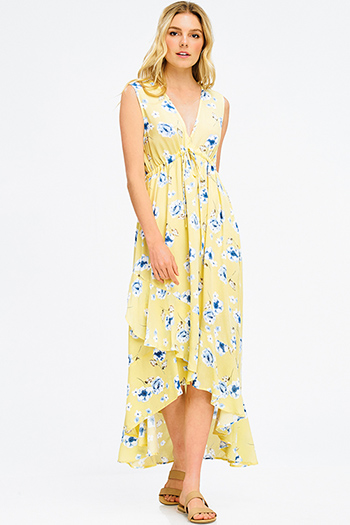 $20 - Cute cheap pink satin dress - yellow floral print v neck empire waist sleeveless ruffle hem boho maxi sun dress