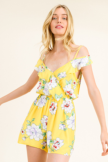$15 - Cute cheap black floral print rayon gauze strapless boho resort romper playsuit jumpsuit - Yellow floral print v neck off shoulder ruffled boho romper playsuit jumpsuit