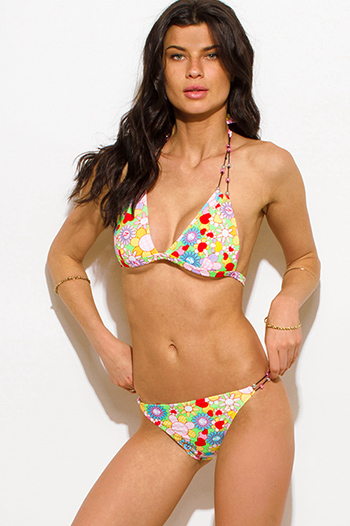 $7 - Cute cheap print swimsuit - yellow multicolor floral and heart print beaded triangle bikini swimsuit set