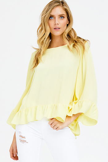 $15 - Cute cheap light blue tencel chambray patch pocket quarter sleeve button up blouse top - yellow textured long ruffle angel bell sleeve ruffle hem boho blouse top