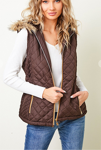 $24.50 - Cute cheap zip front hooded puffer vest with fauxfur lining.