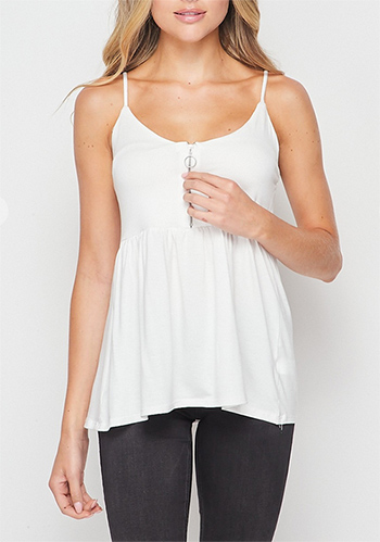 $8.75 - Cute cheap zippered front V-neckline with O-ring puller babydoll top